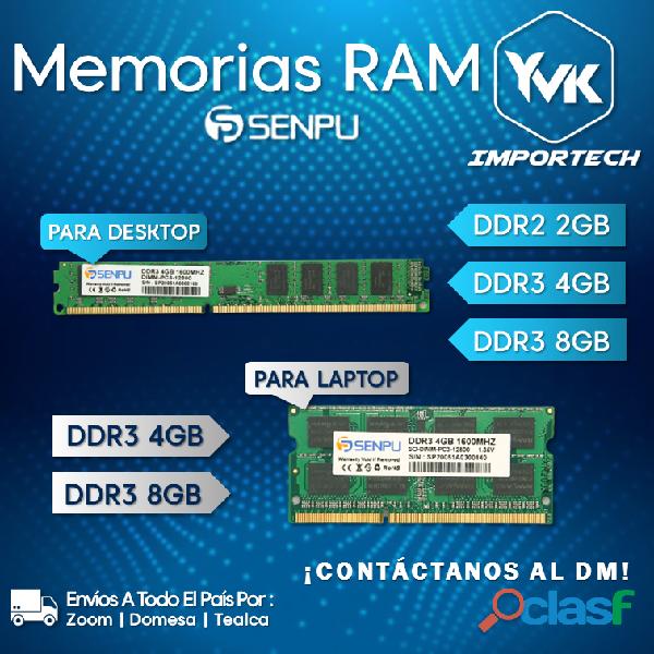 Memorias ram para desktop y laptops marca: senpu