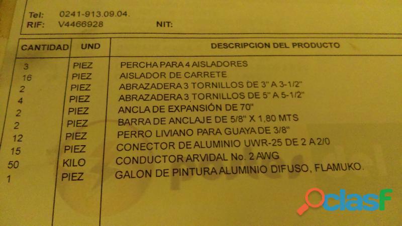 EN VENTA MATERIAL ELECTRICO PARA VESTIR 3 POSTES DE BAJA TENSION