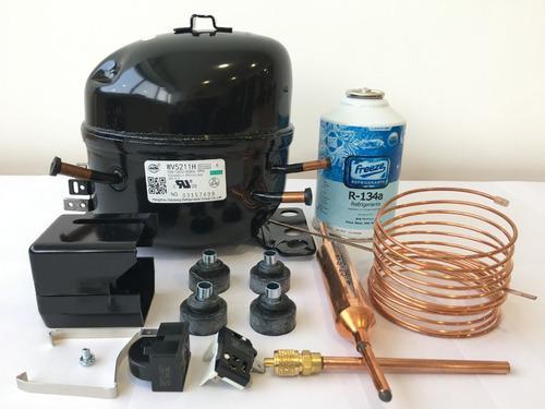 Compresor 1/6 hp 110v con kit instalación nevera congelador