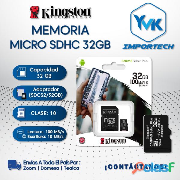 Memoria micro sdhc 32gb kingston