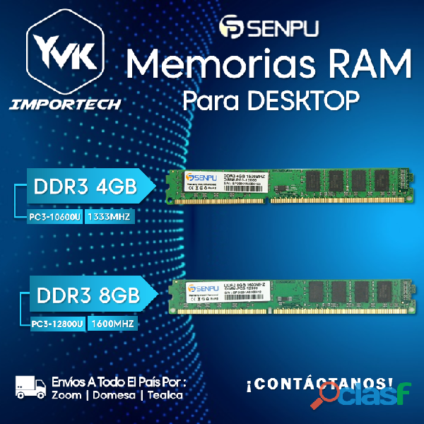 Memorias ram para desktop marca: senpu. ddr3 4gb, ddr3 8gb