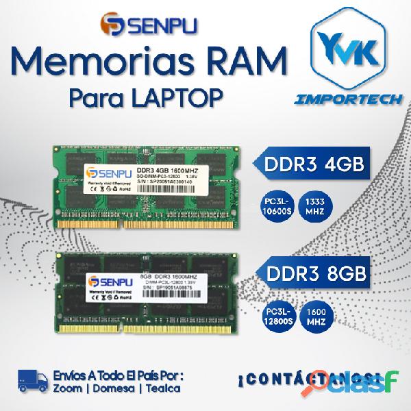 MEMORIAS RAM Para Laptops Marca: Senpu DDR3 4GB, DDR3 8GB