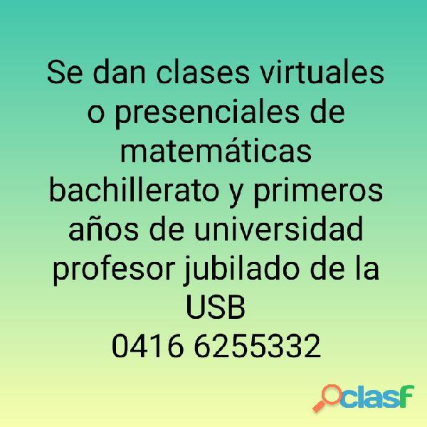 CLASES DE MATEMÁTICAS. 30 AÑOS COMO DOCENTE UNIVERSITARIO