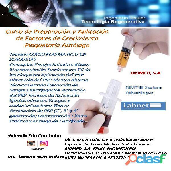 Curso de plasma rico en plaquetas valencia venezuela. tratamiento dolor articular.
