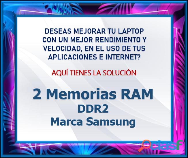 2 Memorias RAM DDR2 Marca Samsung