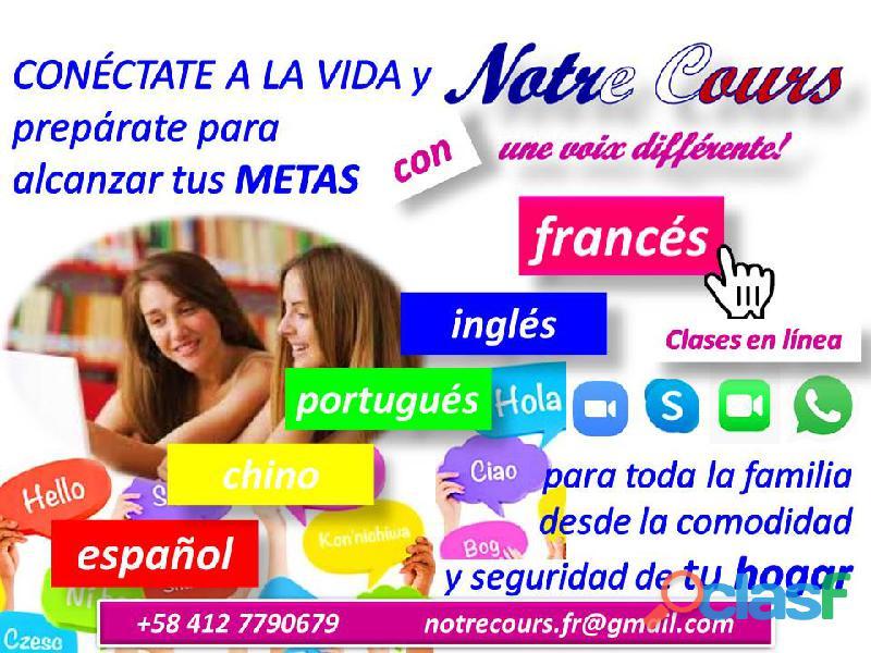 Clases privadas de francés, portugués, inglés, español, alemán y chino