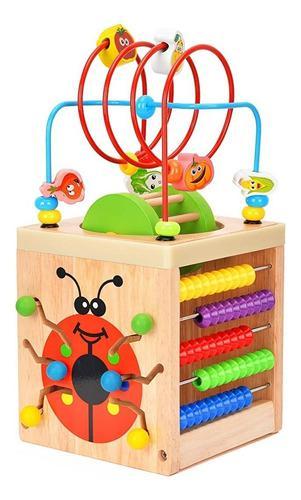 Cubo madera juego didáctico actividad 6 en 1 aprendizaje