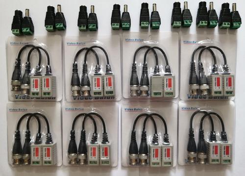 Kit de 8 pares video balun + 8pares conector macho y hembra