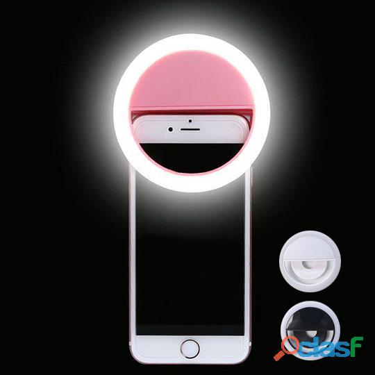 Aro anillo de luz led portati para selfies recargable