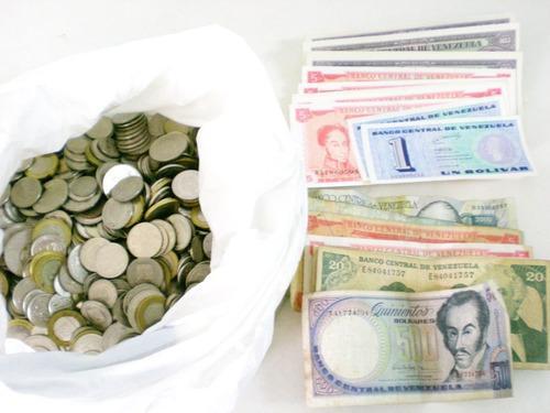 3 kilos monedas venezuela níquel y lote de billetes