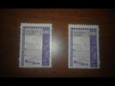 Estampilla o timbre fiscal distrito capital 0,5 precio c/u