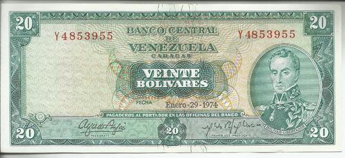 Excelente billete 20 bolívares. enero 29 año 1974. nuevo