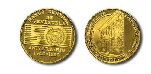 Moneda de oro conmemorativa 50 aniversario bcv