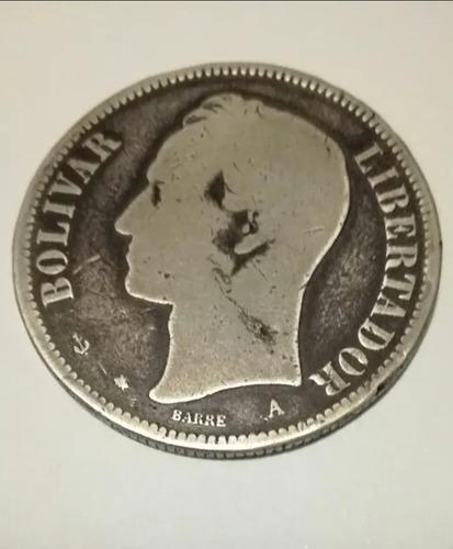 Moneda de plata fuerte (un venezolano) año 1876 leer