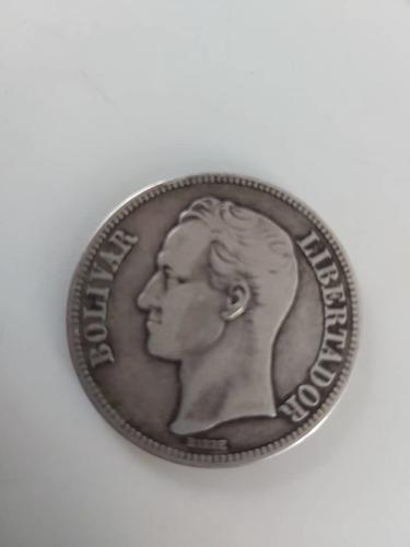 Moneda fuerte plata año 1929 de venezuela