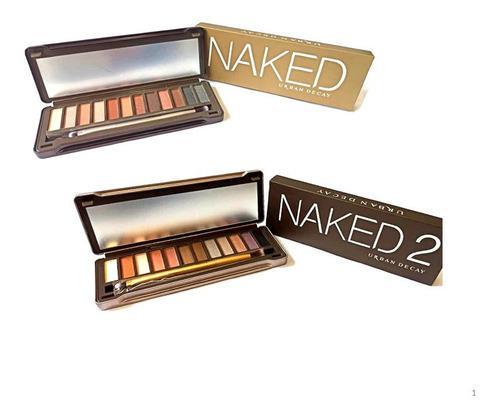 Paleta de sombras naked 12 tonos con brocha doble
