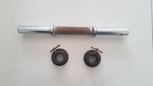 Barra para mancuerna de acero con 2 collares.