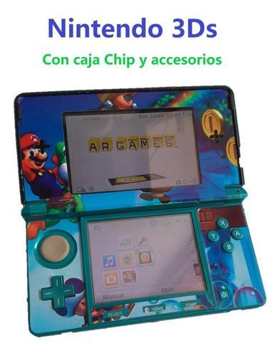 Nintendo 3ds con chip caja y accesorios