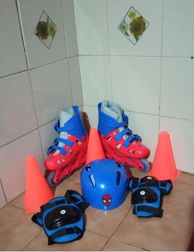 Patines lineales de niño + kit de protección 2 en 1