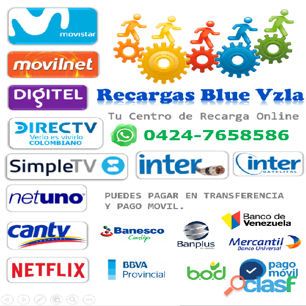 Recarga de saldo Movistar Movilnet digitel Inter Simple TV movistar Tv