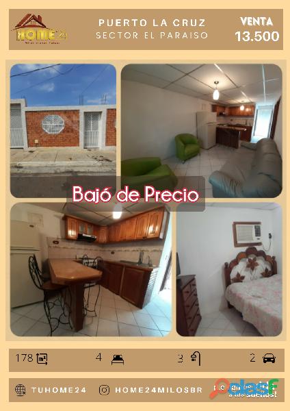 Casa en venta en Puerto La Cruz, sector El paraíso. Anzoátegui. Cerca del Farmatodo Los Cerezos