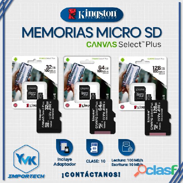 MEMORIAS MICRO SD 32GB/ 64GB/ 128GB MARCA: KINGSTON