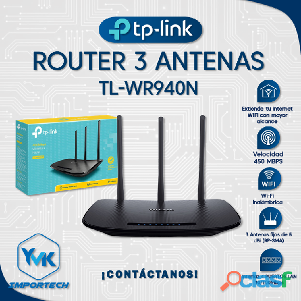 TP LINK ROUTER TL WR940N 3 ANTENAS