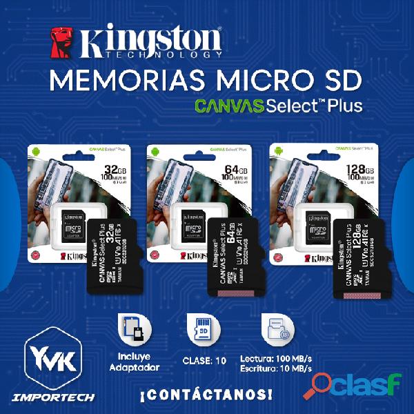 MEMORIAS MICRO SD 32GB/ 64GB/ 128GB KINGSTON
