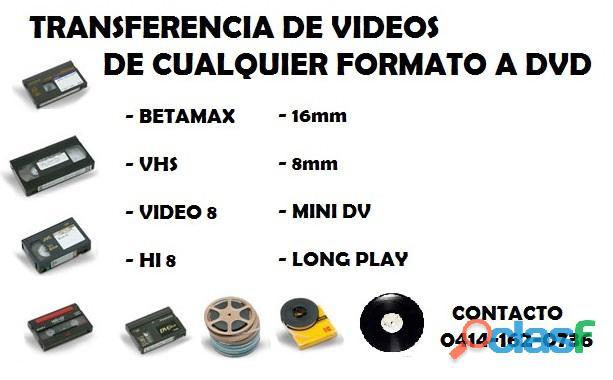 Transferencia de videos de cualquier formato a dvd en Chacao