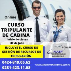 Curso tripulante de cabina de pasajeros (aeromoza)