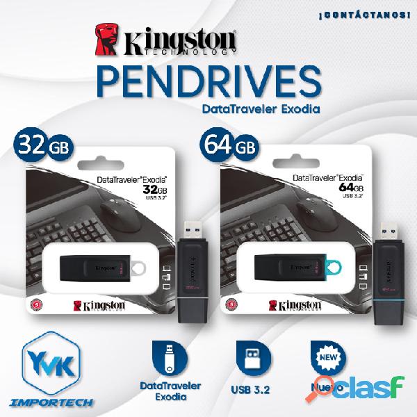 Pendrives marca: kingston 32gb y 64gb