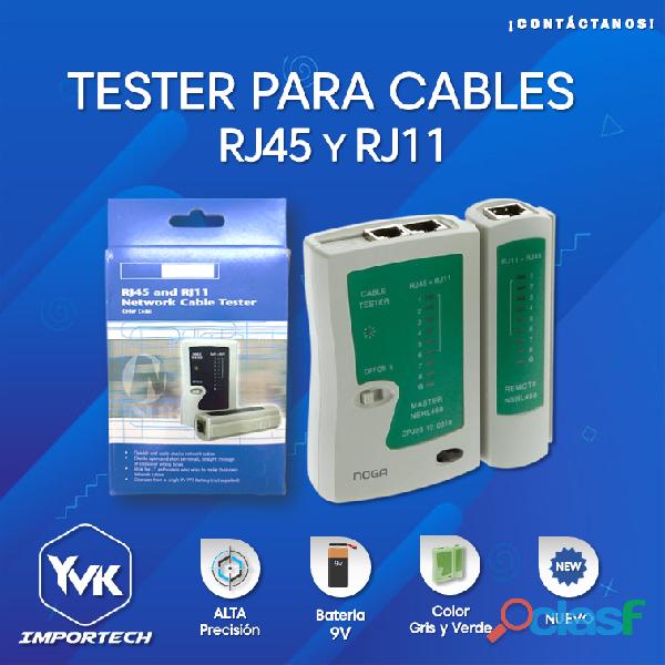 Tester para cable rj45 y rj11 bateria 9v